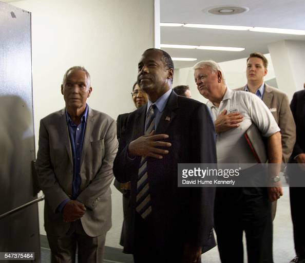 Republican presidential candidate Dr Ben Carson backstage before speaking at a rally at the Anaheim Convention Center September 9 2015