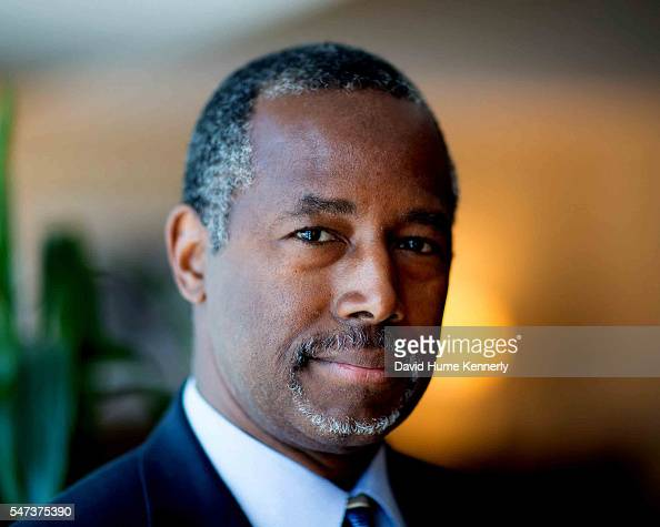 Republican presidential candidate Dr Ben Carson poses for a portrait while waiting to speak at a rally at the Anaheim Convention Center September 9...