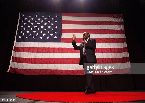 Republican presidential candidate Dr Ben Carson speaks at a rally at the Anaheim Convention Center September 9 2015