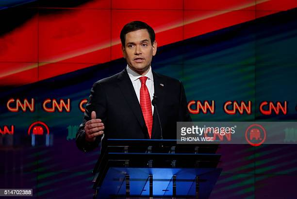 Republican Presidential candidate Florida Senator Marco Rubio speaks during the CNN Republican Presidential Debate March 10 2016 in Miami Florida /...