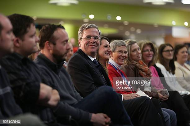 Republican presidential candidate former Florida Governor Jeb Bush waits to be introduced to speak during a campaign event at the Nationwide...