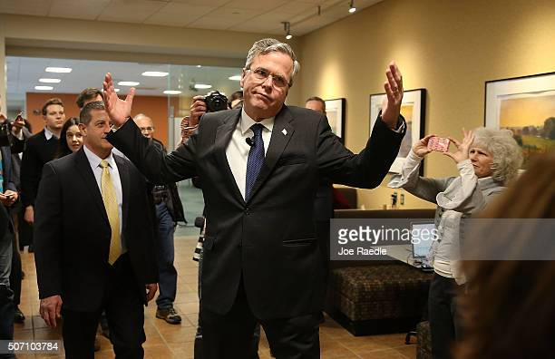Republican presidential candidate former Florida Governor Jeb Bush reacts to a reporters question during a campaign event at the Nationwide Insurance...