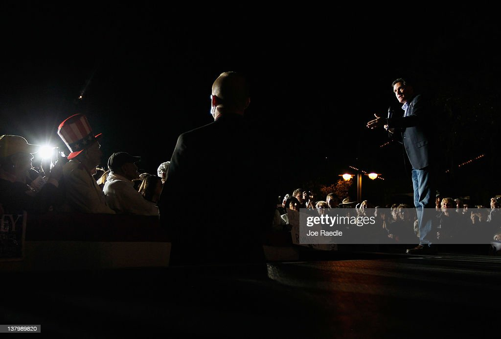 Republican presidential candidate, former Massachusetts Gov. <a gi-track='captionPersonalityLinkClicked' href=/galleries/search?phrase=Mitt+Romney&family=editorial&specificpeople=207106 ng-click='$event.stopPropagation()'>Mitt Romney</a> delivers a speech during a grassroots rally with supporters at Lake Sumter Landing on January 30, 2012 in The Villages, Florida. Romney is campaigning across the state ahead of the January 31 Florida primary.