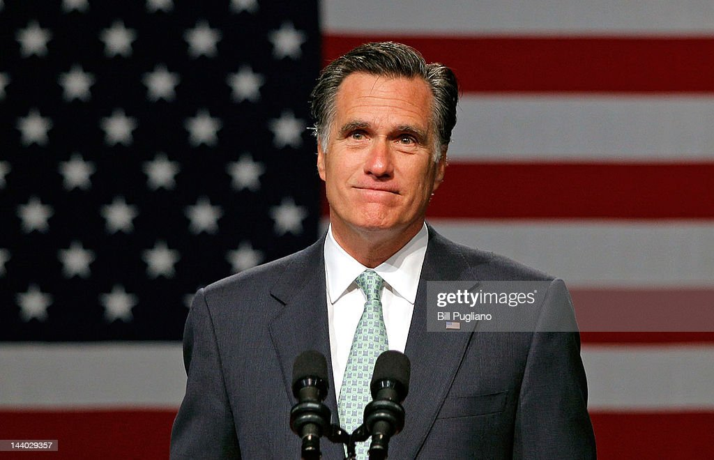 Republican presidential candidate, former Massachusetts Gov. <a gi-track='captionPersonalityLinkClicked' href=/galleries/search?phrase=Mitt+Romney&family=editorial&specificpeople=207106 ng-click='$event.stopPropagation()'>Mitt Romney</a> speaks during a campaign stop at Lansing Community College May 8, 2012 in Lansing, Michigan. Last night former U.S. Sen. Rick Santorum gave his endorsement to Gov. Romney in an e-mail sent to supporters.