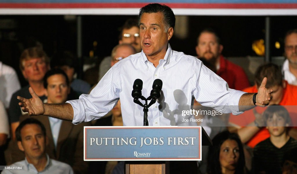 Republican presidential candidate, former Massachusetts Gov. <a gi-track='captionPersonalityLinkClicked' href=/galleries/search?phrase=Mitt+Romney&family=editorial&specificpeople=207106 ng-click='$event.stopPropagation()'>Mitt Romney</a> speaks during a campaign event at the Weatherly Casting Company on June 16, 2012 in Weatherly, Pennsylvania. Mr. Romney continues hs campaign swing through battle ground states as he battles President Barack Obama for votes.