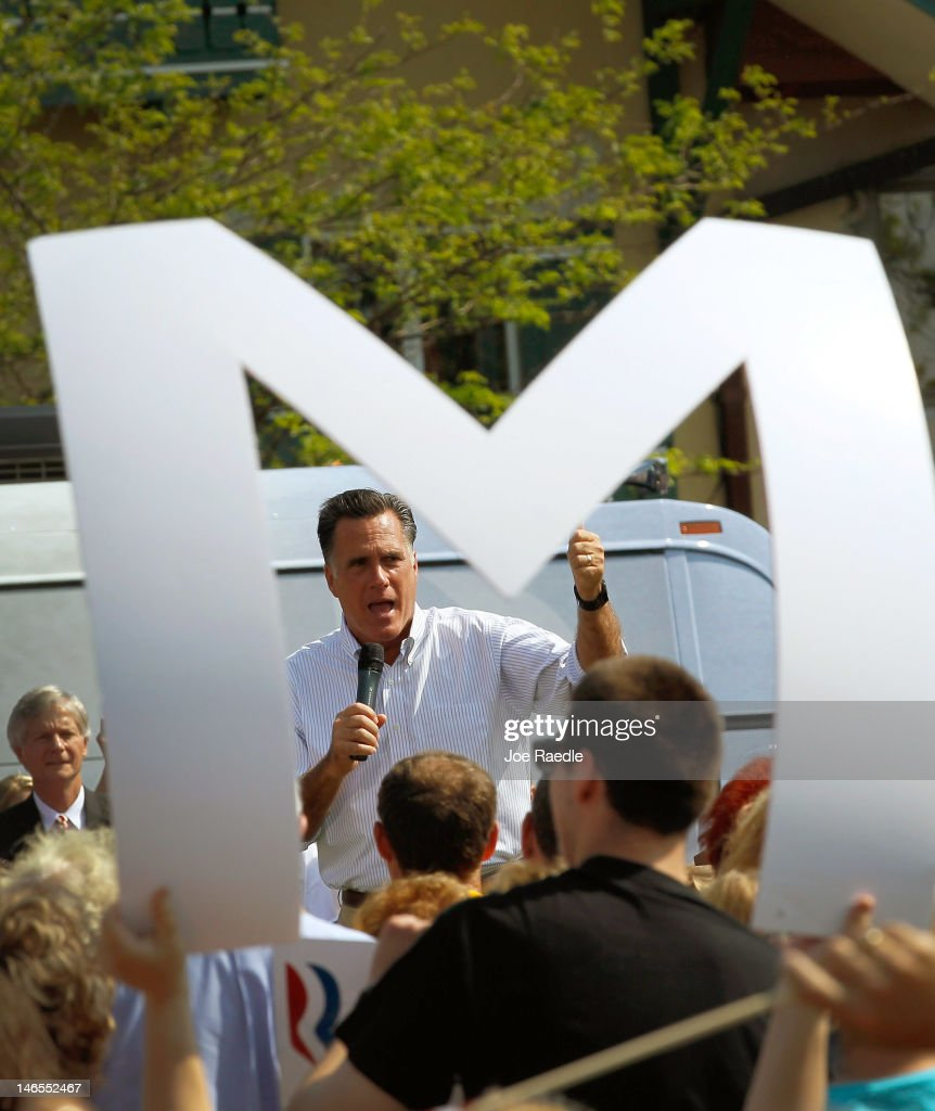 Republican presidential candidate, former Massachusetts Gov. <a gi-track='captionPersonalityLinkClicked' href=/galleries/search?phrase=Mitt+Romney&family=editorial&specificpeople=207106 ng-click='$event.stopPropagation()'>Mitt Romney</a> speaks during a campaign event at a rally in front of the Bavarian Inn Lodge on June 19, 2012 in Frankenmuth, Michigan. Mr. Romney is on the last day of a five day bus trip through battle ground states as he battles President Barack Obama for votes.