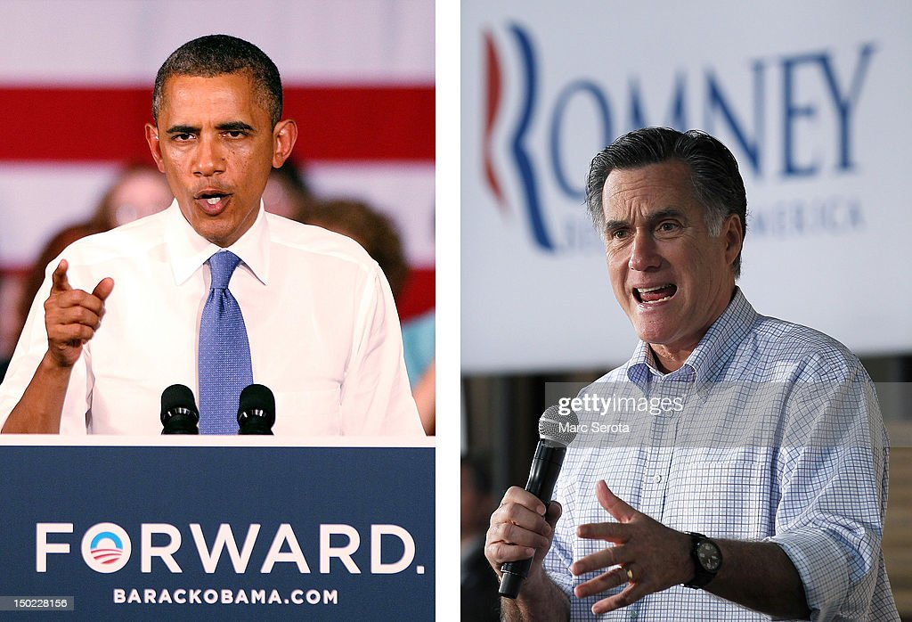 In this composite image a comparison has been made between US Presidential Candidates <a gi-track='captionPersonalityLinkClicked' href=/galleries/search?phrase=Barack+Obama&family=editorial&specificpeople=203260 ng-click='$event.stopPropagation()'>Barack Obama</a> (L) and <a gi-track='captionPersonalityLinkClicked' href=/galleries/search?phrase=Mitt+Romney&family=editorial&specificpeople=207106 ng-click='$event.stopPropagation()'>Mitt Romney</a>. The November 6, 2012 elections will decide between Obama and Romney who will win to become the next President of the United States. GREEN BAY, WI - APRIL 02: Republican Presidential candidate, former Massachusetts Gov. <a gi-track='captionPersonalityLinkClicked' href=/galleries/search?phrase=Mitt+Romney&family=editorial&specificpeople=207106 ng-click='$event.stopPropagation()'>Mitt Romney</a> speaks during a town hall style meeting at Wisconsin Building Supply on April 2, 2012 in Green Bay, Wisconsin. With one day to go before the Wisconsin primary, <a gi-track='captionPersonalityLinkClicked' href=/galleries/search?phrase=Mitt+Romney&family=editorial&specificpeople=207106 ng-click='$event.stopPropagation()'>Mitt Romney</a> makes a final push through the state.
