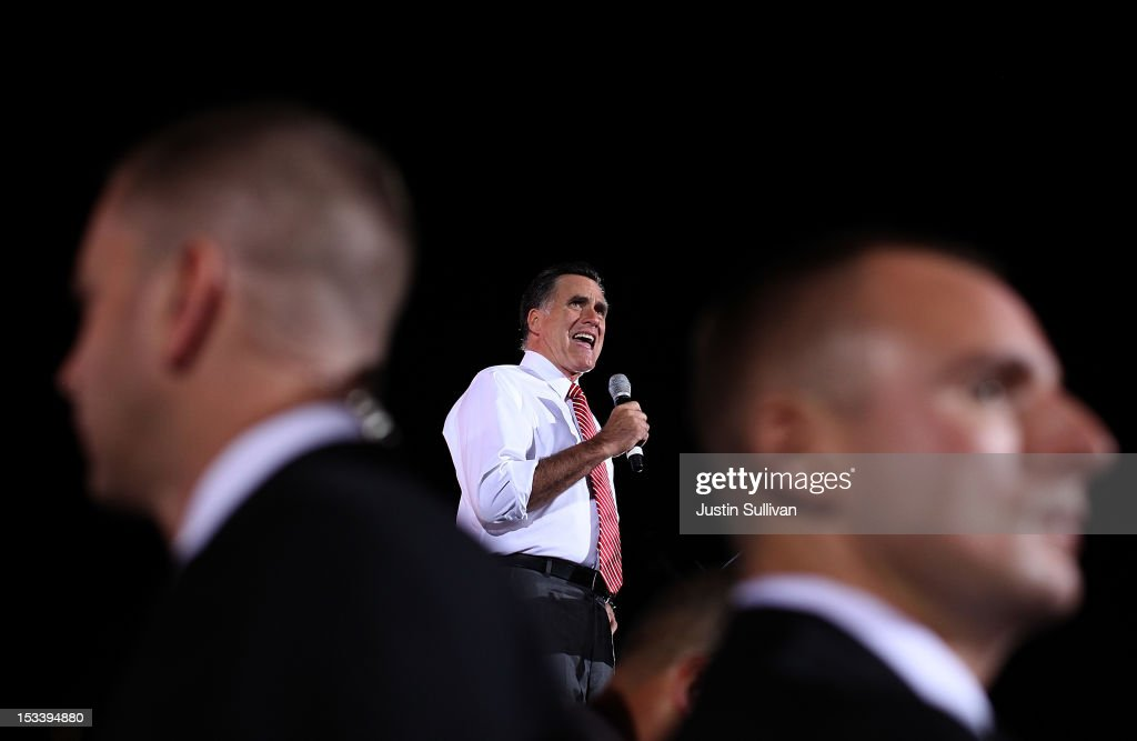 Republican presidential candidate, former Massachusetts Gov. <a gi-track='captionPersonalityLinkClicked' href=/galleries/search?phrase=Mitt+Romney&family=editorial&specificpeople=207106 ng-click='$event.stopPropagation()'>Mitt Romney</a> speaks during a campaign rally at the Augusta Expoland on October 4, 2012 in Fishersville, Virginia. One day after the first Presidential debate, <a gi-track='captionPersonalityLinkClicked' href=/galleries/search?phrase=Mitt+Romney&family=editorial&specificpeople=207106 ng-click='$event.stopPropagation()'>Mitt Romney</a> spoke to the CPAC before heading to Virginia to campaign with his running mate Rep Paul Ryan (R-WI).