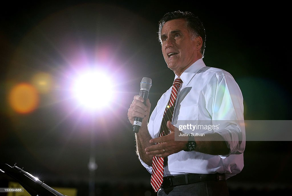 Republican presidential candidate, former Massachusetts Gov. <a gi-track='captionPersonalityLinkClicked' href=/galleries/search?phrase=Mitt+Romney&family=editorial&specificpeople=207106 ng-click='$event.stopPropagation()'>Mitt Romney</a> speaks during a campaign rally at the Augusta Expoland on October 4, 2012 in Fishersville, Virginia. One day after the first Presidential debate, Romney spoke to the Conservative Political Action Conference before heading to Virginia to campaign with running mate Rep Paul Ryan (R-WI).
