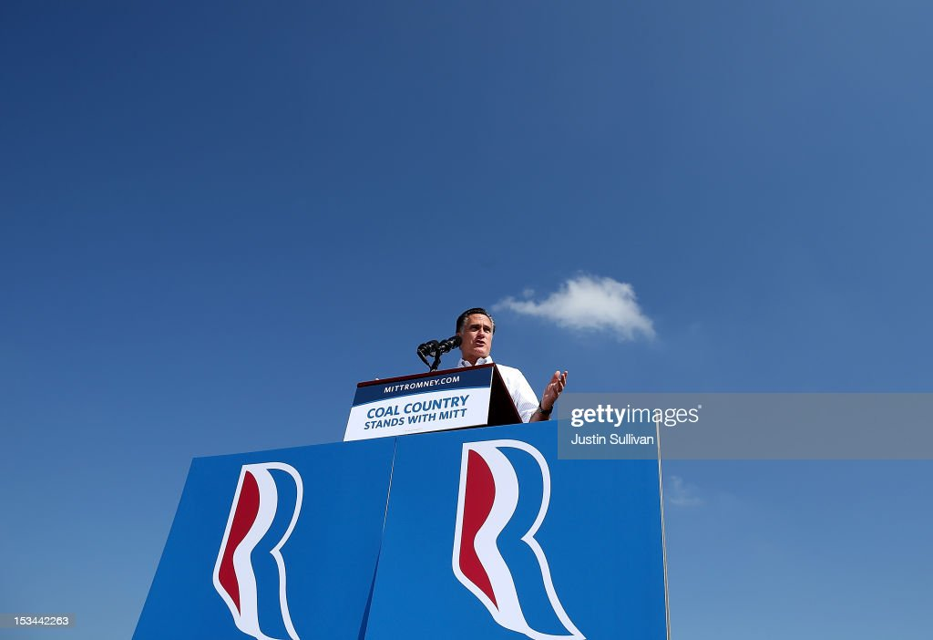 Republican presidential candidate, former Massachusetts Gov. <a gi-track='captionPersonalityLinkClicked' href=/galleries/search?phrase=Mitt+Romney&family=editorial&specificpeople=207106 ng-click='$event.stopPropagation()'>Mitt Romney</a> speaks during a campaign rally on October 5, 2012 in Abingdon, Viriginia. <a gi-track='captionPersonalityLinkClicked' href=/galleries/search?phrase=Mitt+Romney&family=editorial&specificpeople=207106 ng-click='$event.stopPropagation()'>Mitt Romney</a> is campaigning in Virginia coal country and Florida.