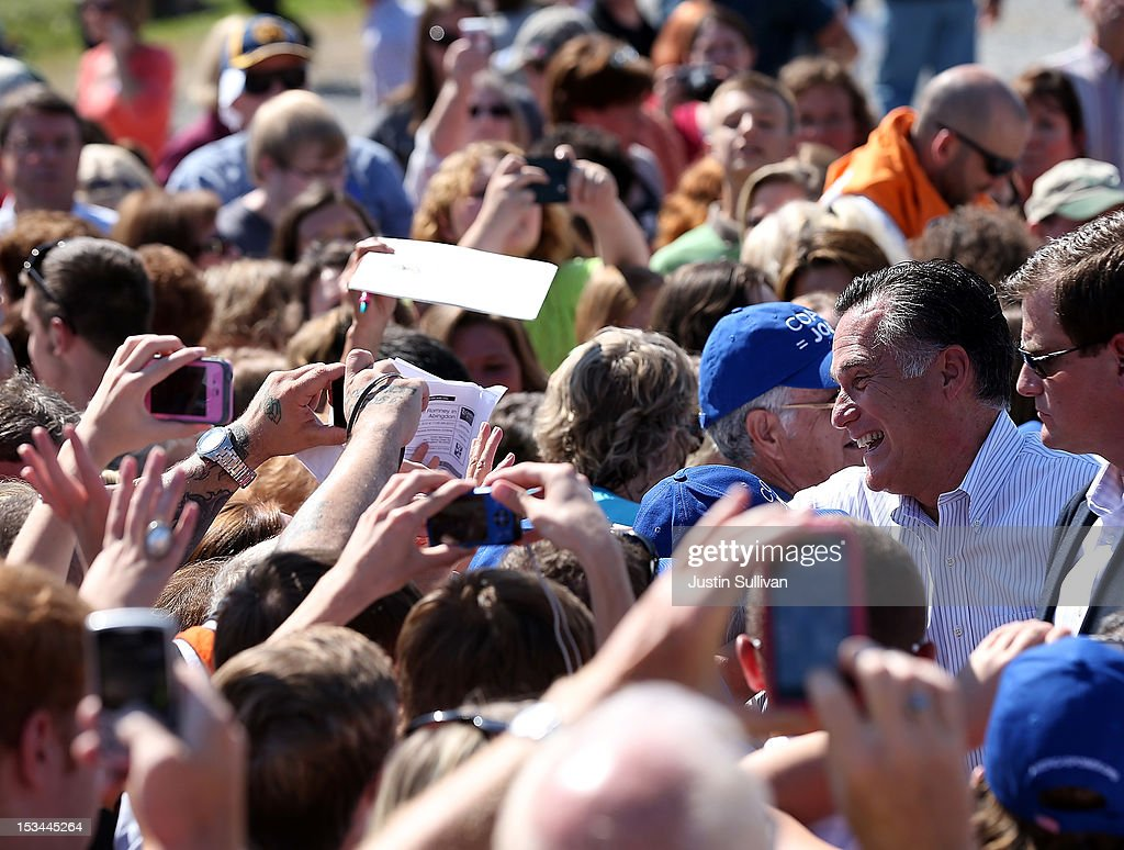 Republican presidential candidate, former Massachusetts Gov. <a gi-track='captionPersonalityLinkClicked' href=/galleries/search?phrase=Mitt+Romney&family=editorial&specificpeople=207106 ng-click='$event.stopPropagation()'>Mitt Romney</a> greets supporters during a campaign rally on October 5, 2012 in Abingdon, Viriginia. <a gi-track='captionPersonalityLinkClicked' href=/galleries/search?phrase=Mitt+Romney&family=editorial&specificpeople=207106 ng-click='$event.stopPropagation()'>Mitt Romney</a> is campaigning in Virginia coal country and Florida.