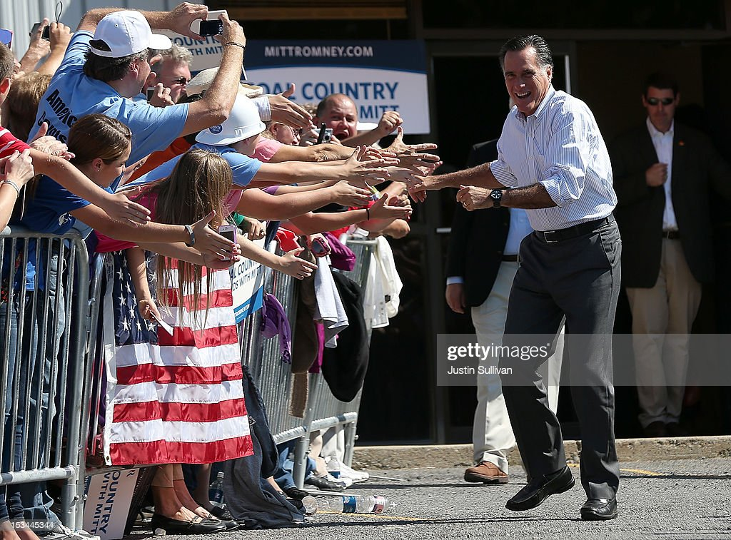 Republican presidential candidate, former Massachusetts Gov. Mitt Romney greets supporters during a campaign rally on October 5, 2012 in Abingdon, Viriginia. Mitt Romney is campaigning in Virginia coal country and Florida.