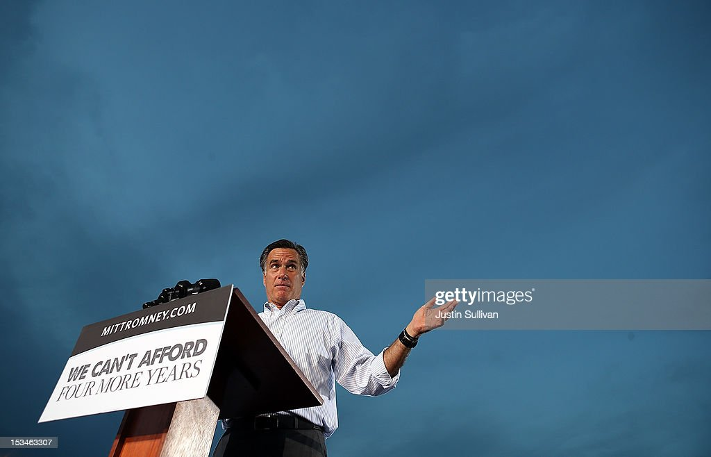 Republican presidential candidate, former Massachusetts Gov. <a gi-track='captionPersonalityLinkClicked' href=/galleries/search?phrase=Mitt+Romney&family=editorial&specificpeople=207106 ng-click='$event.stopPropagation()'>Mitt Romney</a> speaks during a victory rally at Pier Park on October 5, 2012 in St Petersburg, Florida. <a gi-track='captionPersonalityLinkClicked' href=/galleries/search?phrase=Mitt+Romney&family=editorial&specificpeople=207106 ng-click='$event.stopPropagation()'>Mitt Romney</a> is campaigning in Virginia coal country and Florida.