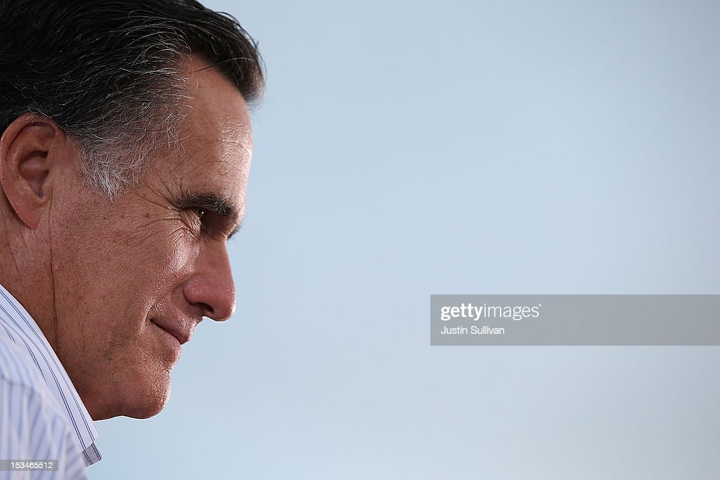 Republican presidential candidate, former Massachusetts Gov. <a gi-track='captionPersonalityLinkClicked' href=/galleries/search?phrase=Mitt+Romney&family=editorial&specificpeople=207106 ng-click='$event.stopPropagation()'>Mitt Romney</a> speaks during a victory rally at Pier Park on October 5, 2012 in St Petersburg, Florida. <a gi-track='captionPersonalityLinkClicked' href=/galleries/search?phrase=Mitt+Romney&family=editorial&specificpeople=207106 ng-click='$event.stopPropagation()'>Mitt Romney</a> is campaigning in Virginia coal country and in Florida.