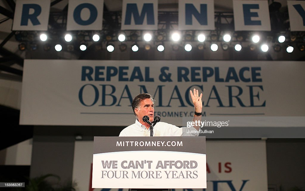 Republican presidential candidate, former Massachusetts Gov. <a gi-track='captionPersonalityLinkClicked' href=/galleries/search?phrase=Mitt+Romney&family=editorial&specificpeople=207106 ng-click='$event.stopPropagation()'>Mitt Romney</a> speaks during a campaign rally on October 6, 2012 in Apopka, Florida. <a gi-track='captionPersonalityLinkClicked' href=/galleries/search?phrase=Mitt+Romney&family=editorial&specificpeople=207106 ng-click='$event.stopPropagation()'>Mitt Romney</a> is campaigning in Florida after a visit to the state of Virginia yesterday.