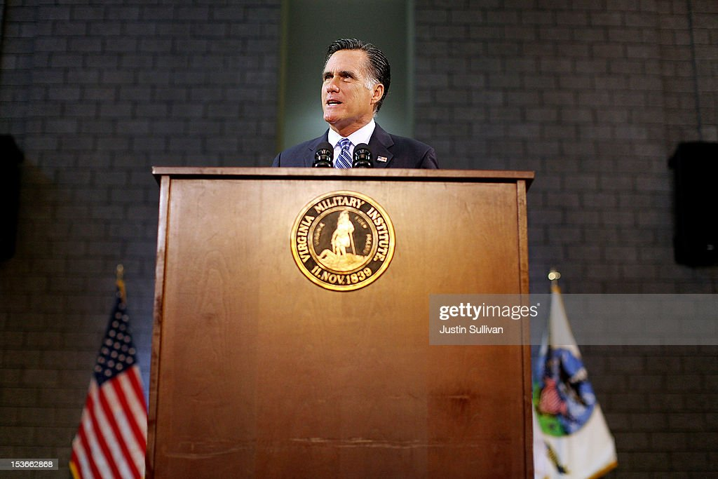 Republican presidential candidate, former Massachusetts Gov. <a gi-track='captionPersonalityLinkClicked' href=/galleries/search?phrase=Mitt+Romney&family=editorial&specificpeople=207106 ng-click='$event.stopPropagation()'>Mitt Romney</a> delivers a foreign policy speech at the Virginia Military Institute on October 8, 2012 in Lexington, Virginia. <a gi-track='captionPersonalityLinkClicked' href=/galleries/search?phrase=Mitt+Romney&family=editorial&specificpeople=207106 ng-click='$event.stopPropagation()'>Mitt Romney</a> is campagning in Virginia.
