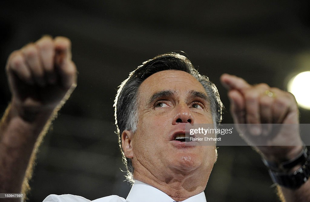 Republican presidential candidate, former Massachusetts Gov. <a gi-track='captionPersonalityLinkClicked' href=/galleries/search?phrase=Mitt+Romney&family=editorial&specificpeople=207106 ng-click='$event.stopPropagation()'>Mitt Romney</a> speaks during a campaign rally on October 11, 2012 in Asheville, North Carolina. Romney is campaigning in North Carolina with less than a month to go before the general election.