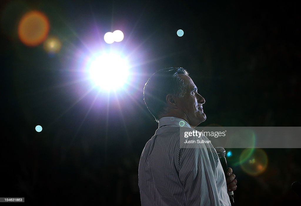 Republican presidential candidate, former Massachusetts Gov. <a gi-track='captionPersonalityLinkClicked' href=/galleries/search?phrase=Mitt+Romney&family=editorial&specificpeople=207106 ng-click='$event.stopPropagation()'>Mitt Romney</a> speaks during a campaign rally at the Red Rock Amphitheatre on October 23, 2012 in Morrison, Colorado. A day after the final Presidential debate, <a gi-track='captionPersonalityLinkClicked' href=/galleries/search?phrase=Mitt+Romney&family=editorial&specificpeople=207106 ng-click='$event.stopPropagation()'>Mitt Romney</a> is campaigning in Nevada and Colorado.
