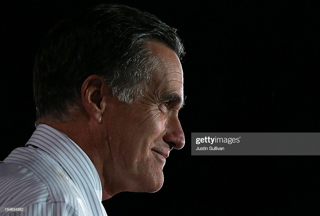 Republican presidential candidate, former Massachusetts Gov. <a gi-track='captionPersonalityLinkClicked' href=/galleries/search?phrase=Mitt+Romney&family=editorial&specificpeople=207106 ng-click='$event.stopPropagation()'>Mitt Romney</a> speaks during a campaign rally at the Red Rocks Amphitheatre on October 23, 2012 in Morrison, Colorado. A day after the final Presidential debate, <a gi-track='captionPersonalityLinkClicked' href=/galleries/search?phrase=Mitt+Romney&family=editorial&specificpeople=207106 ng-click='$event.stopPropagation()'>Mitt Romney</a> is campaigning in Nevada and Colorado.