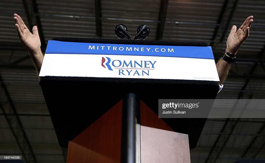 Republican presidential candidate, former Massachusetts Gov. <a gi-track='captionPersonalityLinkClicked' href=/galleries/search?phrase=Mitt+Romney&family=editorial&specificpeople=207106 ng-click='$event.stopPropagation()'>Mitt Romney</a> speaks during a campaign rally at Jet Machine on October 25, 2012 in Cincinnati, Ohio. <a gi-track='captionPersonalityLinkClicked' href=/galleries/search?phrase=Mitt+Romney&family=editorial&specificpeople=207106 ng-click='$event.stopPropagation()'>Mitt Romney</a> is campaigning in Ohio with less than two weeks to go before the election.