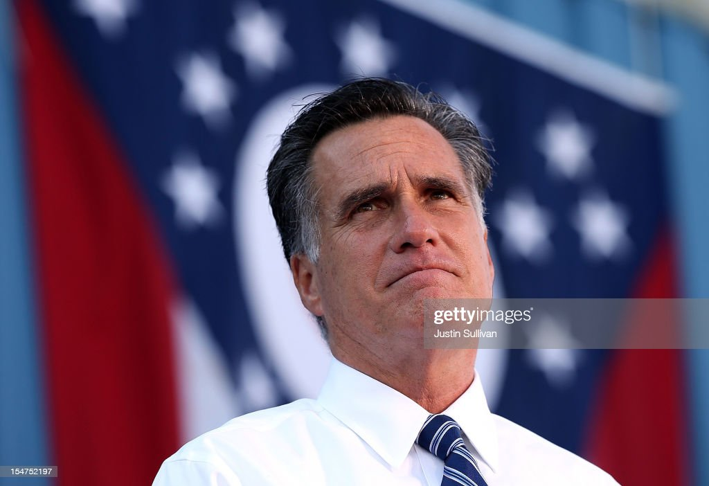 Republican presidential candidate, former Massachusetts Gov. <a gi-track='captionPersonalityLinkClicked' href=/galleries/search?phrase=Mitt+Romney&family=editorial&specificpeople=207106 ng-click='$event.stopPropagation()'>Mitt Romney</a> speaks during a campaign rally at Worthington Industries on October 25, 2012 in Cincinnati, Ohio. <a gi-track='captionPersonalityLinkClicked' href=/galleries/search?phrase=Mitt+Romney&family=editorial&specificpeople=207106 ng-click='$event.stopPropagation()'>Mitt Romney</a> is campaigning in Ohio with less than two weeks to go before the election.