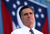Republican presidential candidate former Massachusetts Gov Mitt Romney speaks during a campaign rally at Worthington Industries on October 25 2012 in...