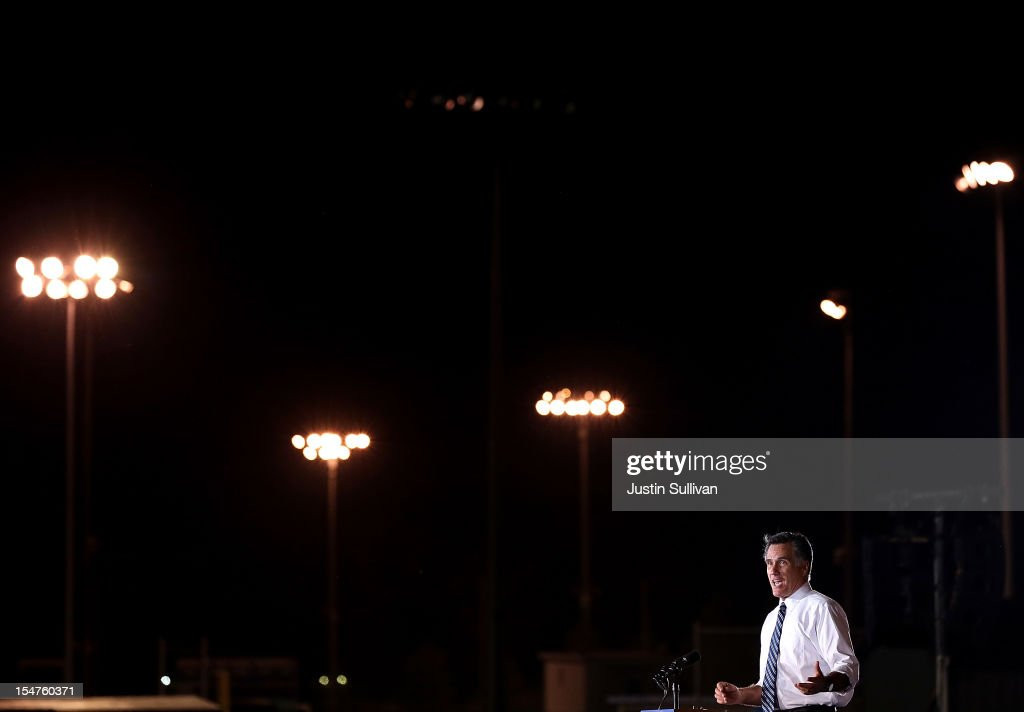 Republican presidential candidate, former Massachusetts Gov. <a gi-track='captionPersonalityLinkClicked' href=/galleries/search?phrase=Mitt+Romney&family=editorial&specificpeople=207106 ng-click='$event.stopPropagation()'>Mitt Romney</a> speaks during a campaign rally at Defiance High School on October 25, 2012 in Defiance, Ohio. <a gi-track='captionPersonalityLinkClicked' href=/galleries/search?phrase=Mitt+Romney&family=editorial&specificpeople=207106 ng-click='$event.stopPropagation()'>Mitt Romney</a> is campaigning in Ohio with less than two weeks to go before the election.