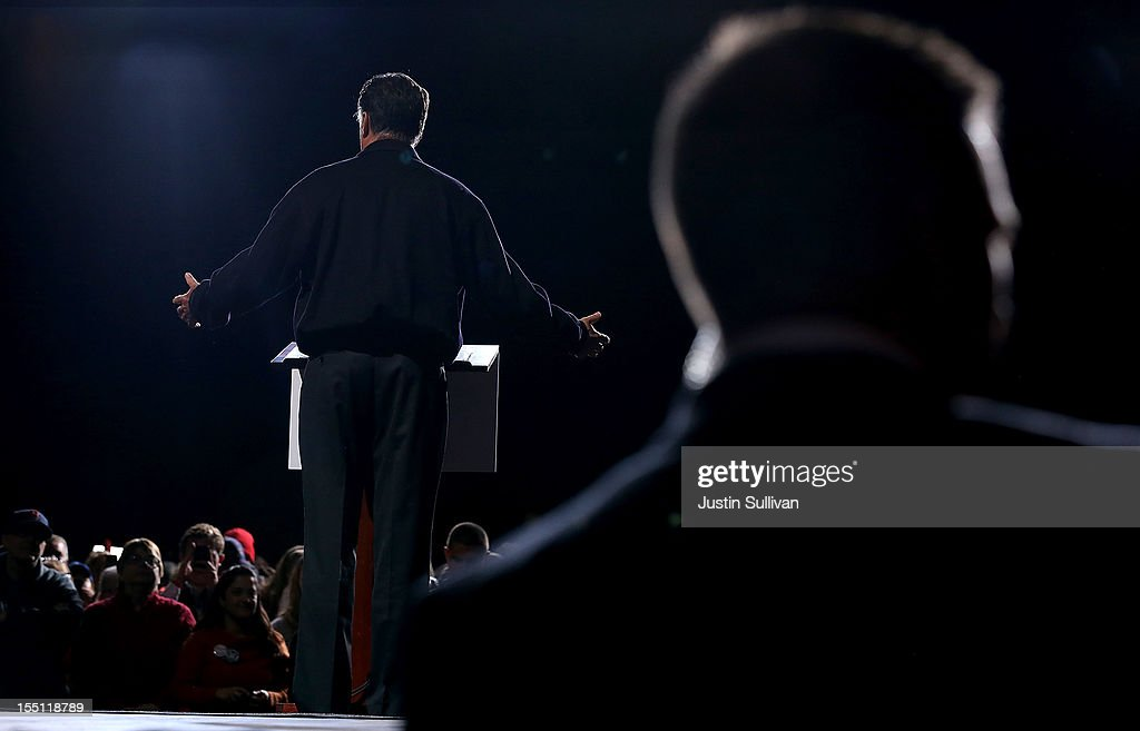 Republican presidential candidate, former Massachusetts Gov. Mitt Romney speaks during a campaign event at Farm Bureau Live on November 1, 2012 in Virginia Beach, Virginia. With less than one week to go until election day, Mitt Romney is campaigning in Virginia.