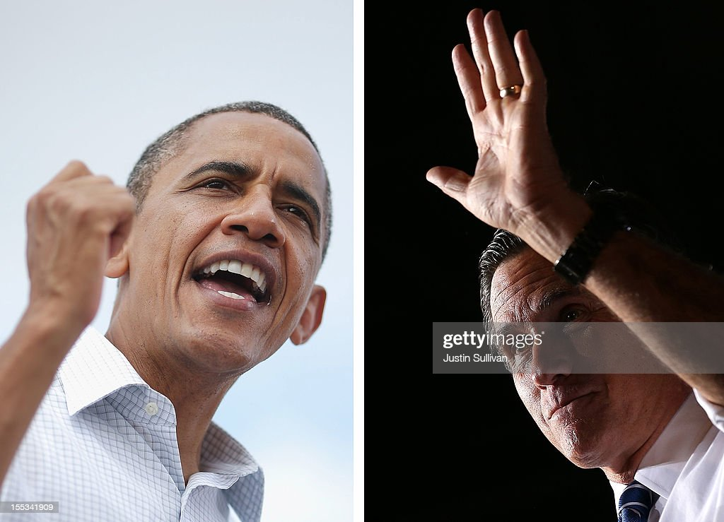 In this composite image a comparison has been made between US Presidential Candidates Barack Obama (L) and Mitt Romney. The November 6, 2012 elections will decide between Obama and Romney who will win to become the next President of the United States. DENVER, CO - OCTOBER 01: Republican presidential candidate, former Massachusetts Gov. Mitt Romney speaks during a campaign rally at the Wings Over the Rockies Air and Space Museum on October 1, 2012 in Denver, Colorado. Mitt Romney arrived in Denver ahead of his first debate with U.S. President Barack Obama which will be held on Wednesday October 3.