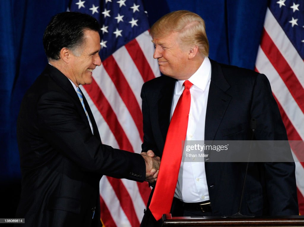 Republican presidential candidate, former Massachusetts Gov. <a gi-track='captionPersonalityLinkClicked' href=/galleries/search?phrase=Mitt+Romney&family=editorial&specificpeople=207106 ng-click='$event.stopPropagation()'>Mitt Romney</a> (L) and Donald Trump shake hands during a news conference held by Trump to endorse Romney for president at the Trump International Hotel & Tower Las Vegas February 2, 2012 in Las Vegas, Nevada. Romney came in first in the Florida primary on January 31 and is looking ahead to Nevada's caucus on February 4.
