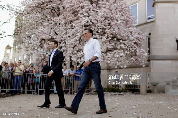 Republican presidential candidate former Massachusetts Gov Mitt Romney and Rep Aaron Schock arrive for a townhall campaign meeting on the campus of...