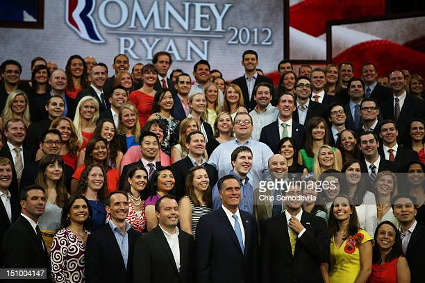 Republican presidential candidate former Massachusetts Gov Mitt Romney and Republican vice presidential candidate US Rep Paul Ryan pose with campaign...