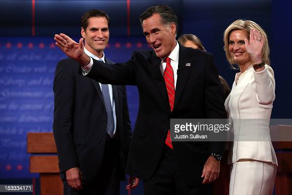 Republican presidential candidate former Massachusetts Gov Mitt Romney and his wife Ann Romney wave to the crowd as son Josh Romney looks on after...