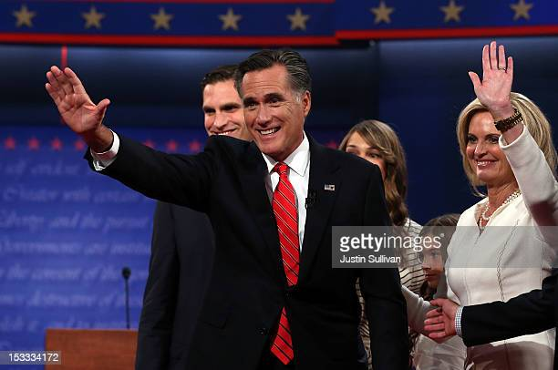 Republican presidential candidate former Massachusetts Gov Mitt Romney and his wife Ann Romney stand with their family after the Presidential Debate...