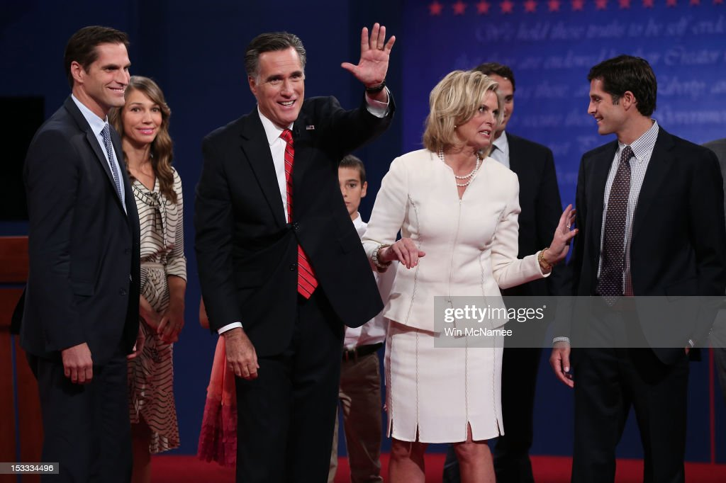 Republican presidential candidate, former Massachusetts Gov. <a gi-track='captionPersonalityLinkClicked' href=/galleries/search?phrase=Mitt+Romney&family=editorial&specificpeople=207106 ng-click='$event.stopPropagation()'>Mitt Romney</a> (C) and his wife, <a gi-track='captionPersonalityLinkClicked' href=/galleries/search?phrase=Ann+Romney&family=editorial&specificpeople=868004 ng-click='$event.stopPropagation()'>Ann Romney</a> stand with their family after the Presidential Debate at the University of Denver on October 3, 2012 in Denver, Colorado. The first of four debates for the 2012 Election, three Presidential and one Vice Presidential, is moderated by PBS's Jim Lehrer and focuses on domestic issues: the economy, health care, and the role of government.