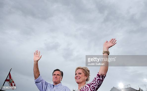 Republican presidential candidate former Massachusetts Gov Mitt Romney and his wife Ann Romney wave to supporters during a victory rally at Tradition...