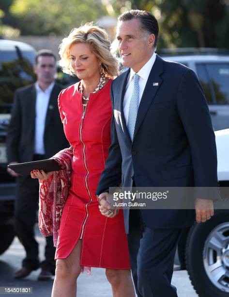 Republican presidential candidate former Massachusetts Gov Mitt Romney and his wife Ann Romney arrive for church services at the Church Of Jesus...