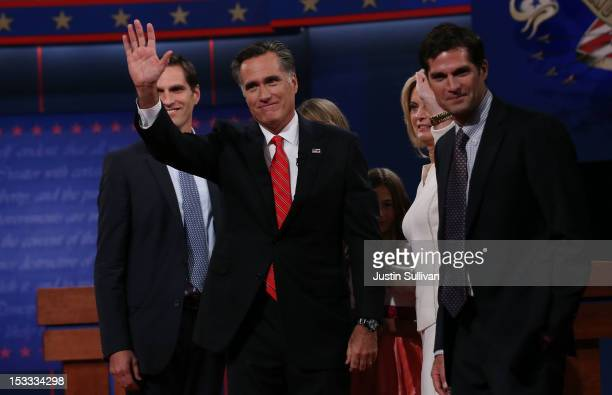 Republican presidential candidate former Massachusetts Gov Mitt Romney waves as he stands with his wife Ann Romney as son's Matt Romney and Josh...