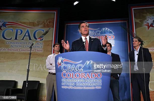 Republican presidential candidate former Massachusetts Gov Mitt Romney speaks as his sons Matt Romney Tagg Romney and Josh Romney look on during the...