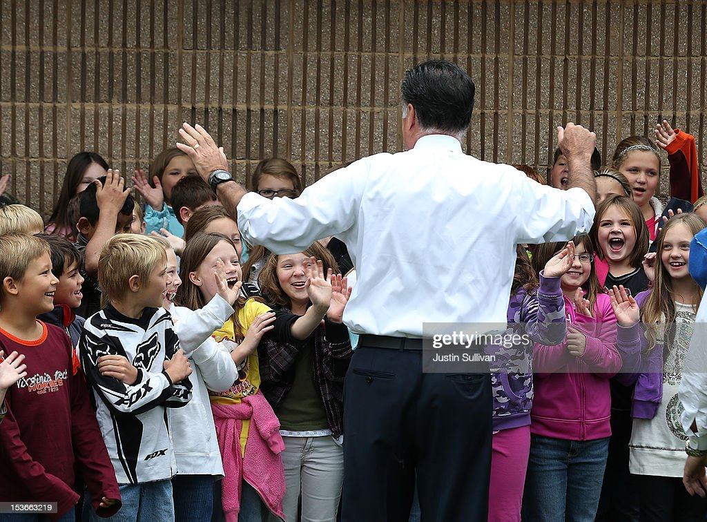 Republican presidential candidate, former Massachusetts Gov. <a gi-track='captionPersonalityLinkClicked' href=/galleries/search?phrase=Mitt+Romney&family=editorial&specificpeople=207106 ng-click='$event.stopPropagation()'>Mitt Romney</a> greets students at Fairfield Elementary school after he delivered a foreign policy speech at the Virginia Military Institute on October 8, 2012 in Fairfield, Virginia. <a gi-track='captionPersonalityLinkClicked' href=/galleries/search?phrase=Mitt+Romney&family=editorial&specificpeople=207106 ng-click='$event.stopPropagation()'>Mitt Romney</a> is campagning in Virginia.