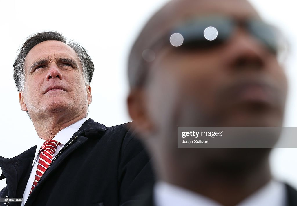 Republican presidential candidate, former Massachusetts Gov. <a gi-track='captionPersonalityLinkClicked' href=/galleries/search?phrase=Mitt+Romney&family=editorial&specificpeople=207106 ng-click='$event.stopPropagation()'>Mitt Romney</a> speaks at Kinzler Construction Services on October 26, 2012 in Ames, Iowa. With less than two weeks before election day, <a gi-track='captionPersonalityLinkClicked' href=/galleries/search?phrase=Mitt+Romney&family=editorial&specificpeople=207106 ng-click='$event.stopPropagation()'>Mitt Romney</a> is campaigning in Iowa and Ohio.
