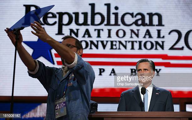 Republican presidential candidate former Massachusetts Gov Mitt Romney speaks for a soundcheck during the final day of the Republican National...