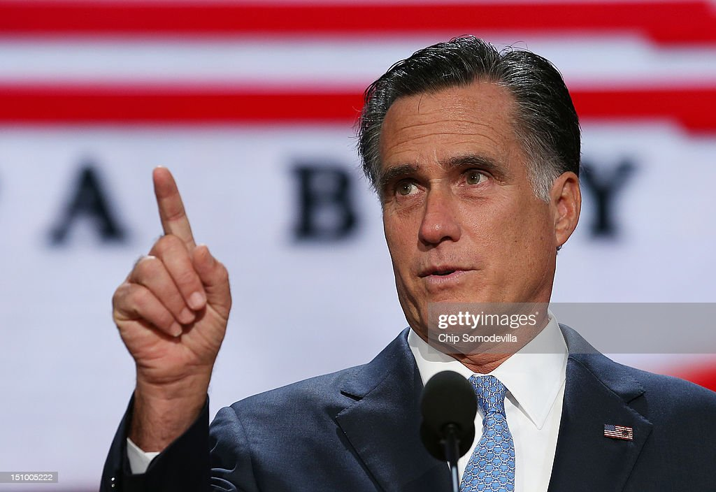Republican presidential candidate, former Massachusetts Gov. <a gi-track='captionPersonalityLinkClicked' href=/galleries/search?phrase=Mitt+Romney&family=editorial&specificpeople=207106 ng-click='$event.stopPropagation()'>Mitt Romney</a> speaks for a sound check during the final day of the Republican National Convention at the Tampa Bay Times Forum on August 30, 2012 in Tampa, Florida. Former Massachusetts Gov. <a gi-track='captionPersonalityLinkClicked' href=/galleries/search?phrase=Mitt+Romney&family=editorial&specificpeople=207106 ng-click='$event.stopPropagation()'>Mitt Romney</a> was nominated as the Republican presidential candidate during the RNC which will conclude today.