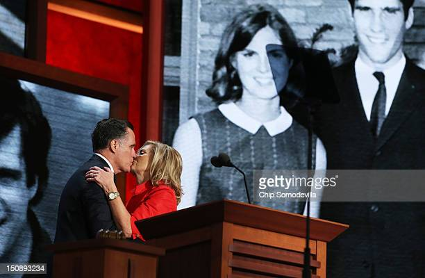 Republican presidential candidate former Massachusetts Gov Mitt Romney kisses his wife Ann Romney on stage during the Republican National Convention...