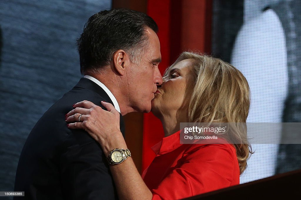Republican presidential candidate, former Massachusetts Gov. <a gi-track='captionPersonalityLinkClicked' href=/galleries/search?phrase=Mitt+Romney&family=editorial&specificpeople=207106 ng-click='$event.stopPropagation()'>Mitt Romney</a> kisses his wife, <a gi-track='captionPersonalityLinkClicked' href=/galleries/search?phrase=Ann+Romney&family=editorial&specificpeople=868004 ng-click='$event.stopPropagation()'>Ann Romney</a> on stage during the Republican National Convention at the Tampa Bay Times Forum on August 28, 2012 in Tampa, Florida. Today is the first full session of the RNC after the start was delayed due to Tropical Storm Isaac.
