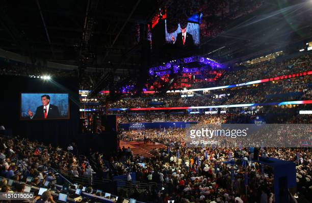 Republican presidential candidate former Massachusetts Gov Mitt Romney delivers his nomination acceptance speech during the final day of the...