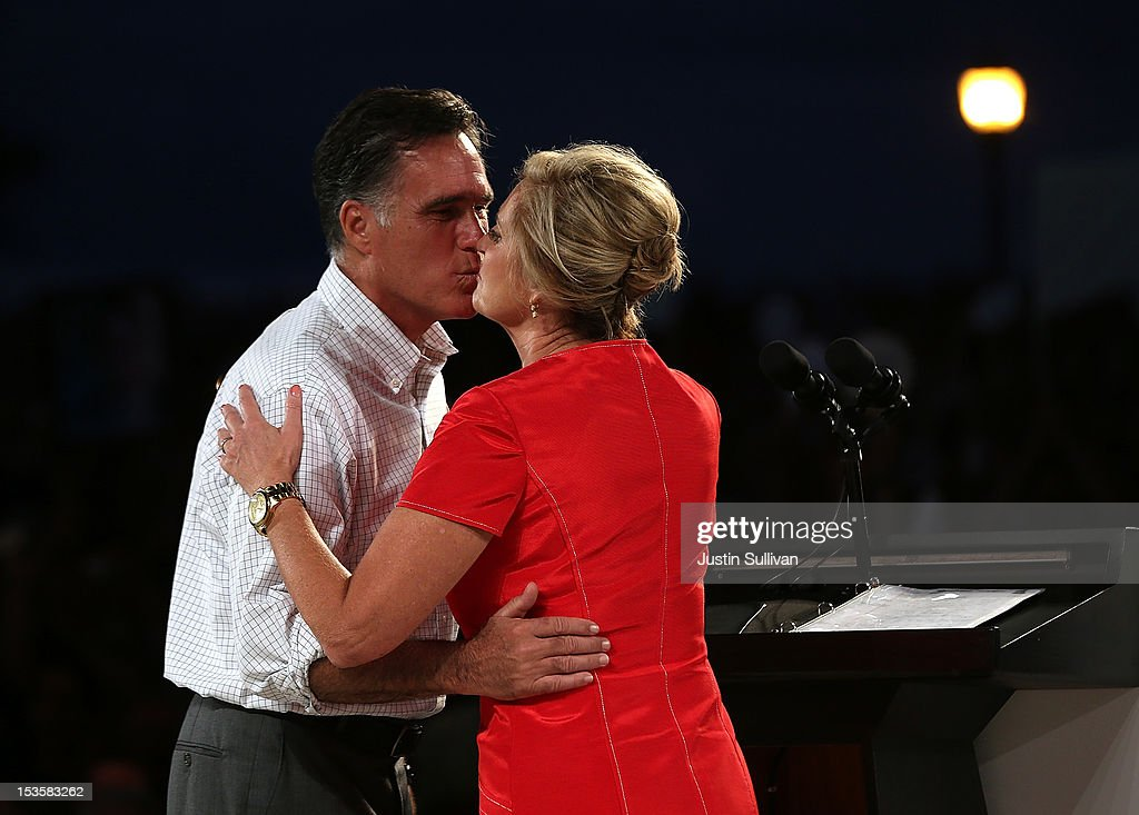 Republican presidential candidate, former Massachusetts Gov. <a gi-track='captionPersonalityLinkClicked' href=/galleries/search?phrase=Mitt+Romney&family=editorial&specificpeople=207106 ng-click='$event.stopPropagation()'>Mitt Romney</a> (L) kisses his wife <a gi-track='captionPersonalityLinkClicked' href=/galleries/search?phrase=Ann+Romney&family=editorial&specificpeople=868004 ng-click='$event.stopPropagation()'>Ann Romney</a> during a campaign rally on October 6, 2012 in Apopka, Florida. <a gi-track='captionPersonalityLinkClicked' href=/galleries/search?phrase=Mitt+Romney&family=editorial&specificpeople=207106 ng-click='$event.stopPropagation()'>Mitt Romney</a> is campaigning in Florida after a visit to the state of Virginia yesterday.