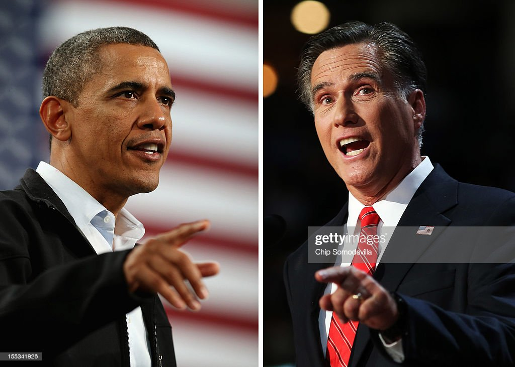In this composite image a comparison has been made between US Presidential Candidates Barack Obama (L) and Mitt Romney. The November 6, 2012 elections will decide between Obama and Romney who will win to become the next President of the United States. TAMPA, FL - AUGUST 30: Republican presidential candidate, former Massachusetts Gov. Mitt Romney delivers his nomination acceptance speech during the final day of the Republican National Convention at the Tampa Bay Times Forum on August 30, 2012 in Tampa, Florida. Former Massachusetts Gov. Mitt Romney was nominated as the Republican presidential candidate during the RNC which will conclude today.