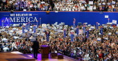 Republican presidential candidate former Massachusetts Gov Mitt Romney waves on stage during the final day of the Republican National Convention at...