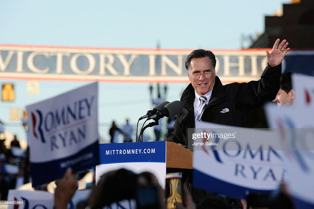 Republican presidential candidate, former Massachusetts Gov. <a gi-track='captionPersonalityLinkClicked' href=/galleries/search?phrase=Mitt+Romney&family=editorial&specificpeople=207106 ng-click='$event.stopPropagation()'>Mitt Romney</a> speaks on stage during a town square rally on October 12, 2012 in Lancaster, Ohio. Romney was campaining a day after running mate U.S. Rep. Paul Ryan (R-WI) debated U.S. Vice President Joe Biden.